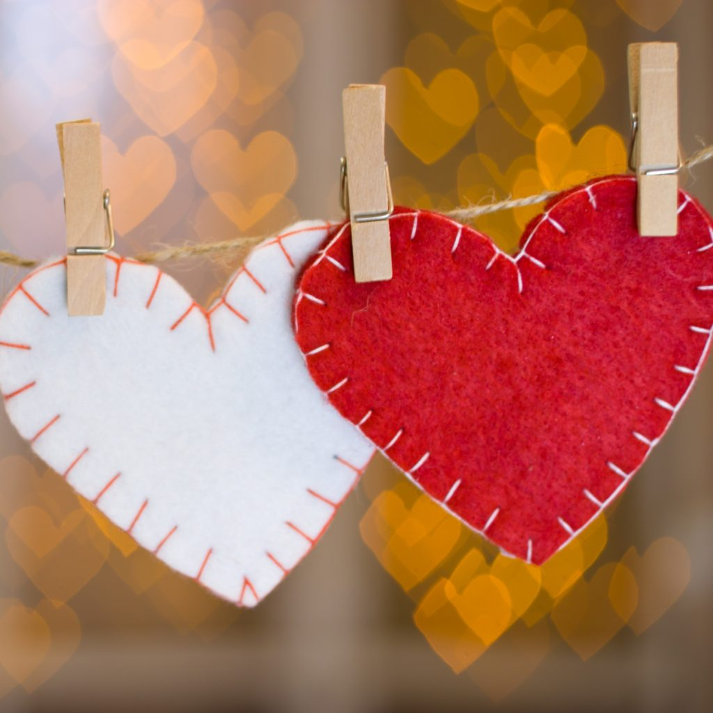 Two hearts made of felt.